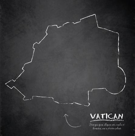 Vatican map Italy blackboard chalkboard vector