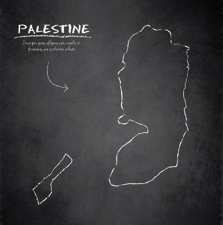 palestine: Palestine map chalkboard blackboard vector