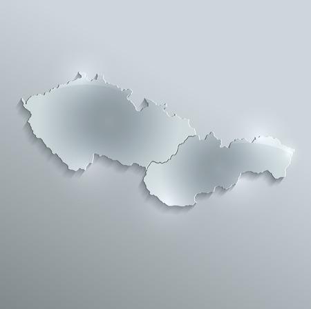 papery: Slovakia map Czech glass card paper 3D raster Czechoslovakia Separate maps