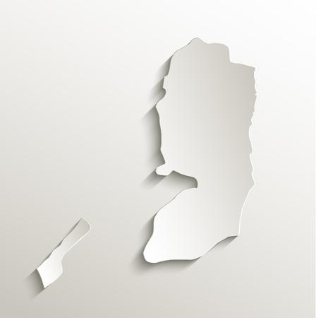 palestine: Palestine map card paper 3D raster natural Stock Photo