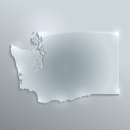 papery: Washington map glass card paper 3D raster Stock Photo
