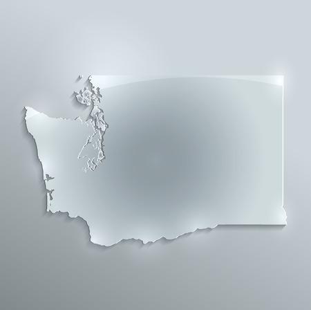 glass paper: Washington map glass card paper 3D raster Stock Photo