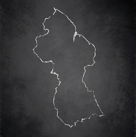guyanese: Guyana map blackboard chalkboard raster