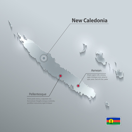 glass paper: New Caledonia map flag glass card paper 3D