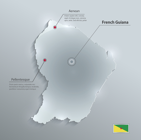 french flag: French Guiana map flag glass card paper 3D