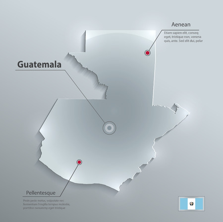 guatemalan: Guatemala map flag glass card paper 3D