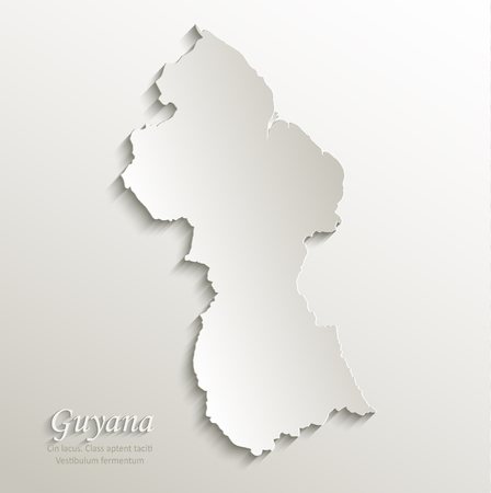 guyanese: Guyana map card paper 3D natural Illustration