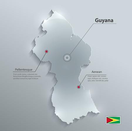 guyanese: Guyana map flag glass card paper 3D
