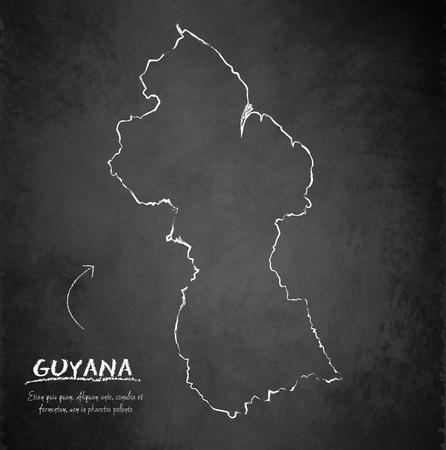 guyanese: Guyana map blackboard chalkboard