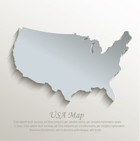 state: USA map white blue card paper 3D