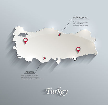papery: Turkey map blue white card paper 3D