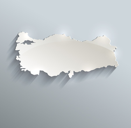 papery: Turkey map blue white card paper 3D raster