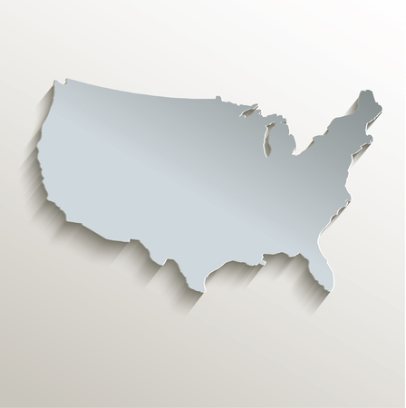 papery: USA map white blue card paper 3D raster Stock Photo