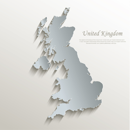 papery: United Kingdom map white blue card paper 3D