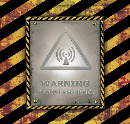 frequency: Blackboard banner caution sign warning radio frequency vector