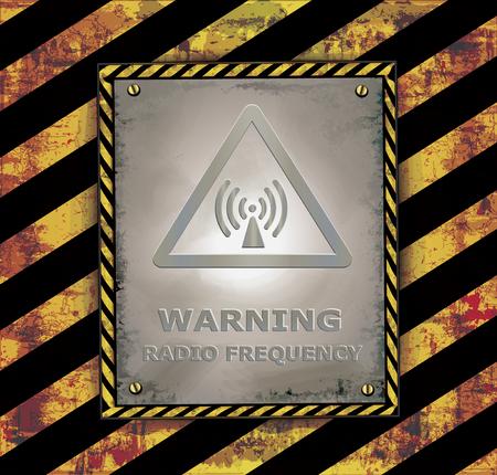 radio frequency: Blackboard banner caution sign warning radio frequency vector