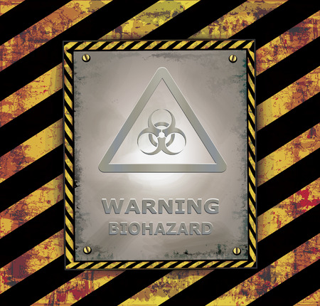 toxins: blackboard sign caution biohazard warning banner vector