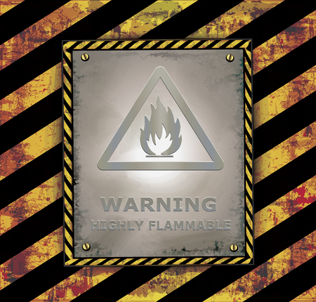 blackboard caution sign warning Highly flammable banner vector