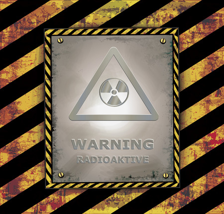radioactive: blackboard caution sign warning radioactive banner vector