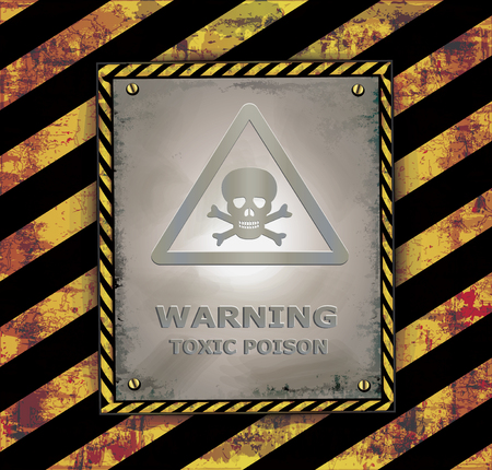 poison sign: Blackboard banner caution sign warning toxic poison vector