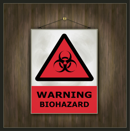toxins: Blackboard biohazard warning sign vector wood Illustration