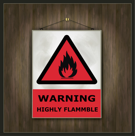flammable warning: blackboard sign warning Highly flammable wood vector