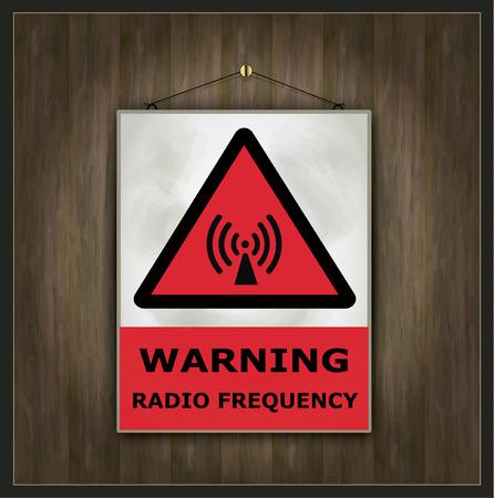 radio frequency: blackboard sign warning radio frequency vector wood