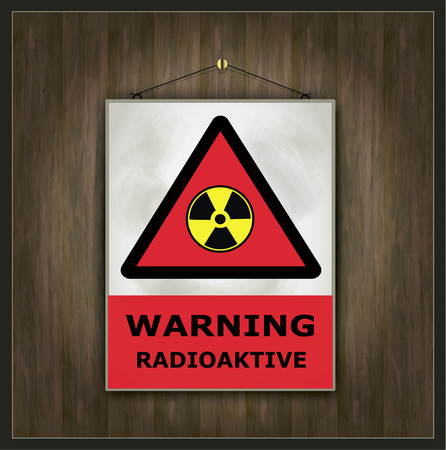 radioactive: blackboard warning sign radioactive wood vector