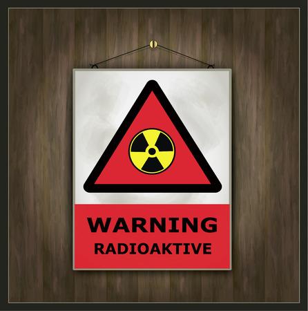 signe d'avertissement tableau noir vecteur de bois radioactifs Vecteurs