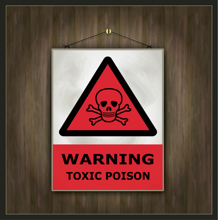 poison sign: blackboard sign warning toxic poison wood vector
