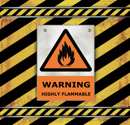 flammable warning: Sign caution blackboard warning Highly flammable Vector