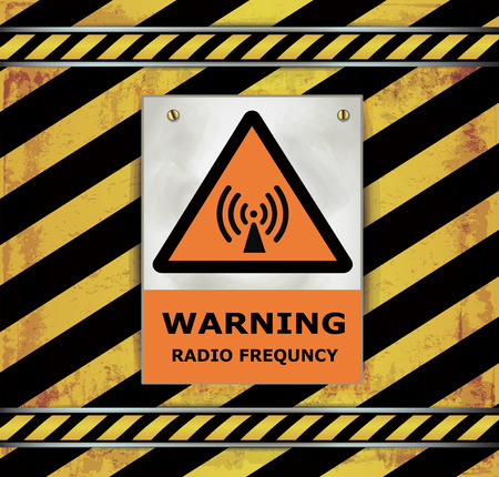 radio frequency: Sign caution blackboard warning radio frequency vector