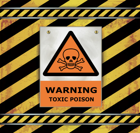 poison sign: Blackboard caution sign warning toxic poison vector