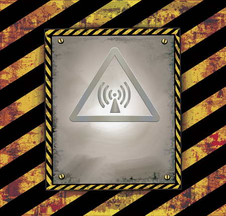 symbol yellow: Blackboard banner caution sign warning radio frequency raster