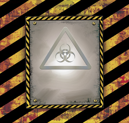 toxins: Blackboard banner warning sign caution biohazard raster