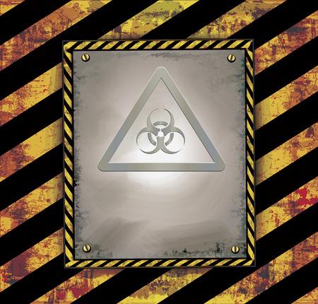 vector raster background: Blackboard banner warning sign caution biohazard raster