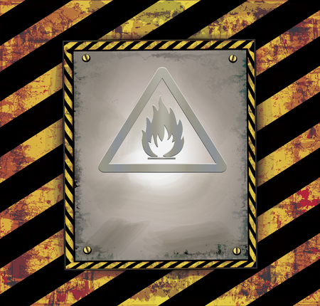 highly flammable: Blackboard banner caution sign warning Highly flammable raster Stock Photo
