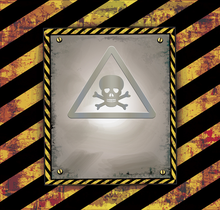 poison sign: Blackboard banner caution sign warning toxic poison raster