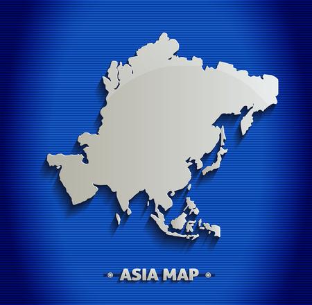 Asia map blue line 3D