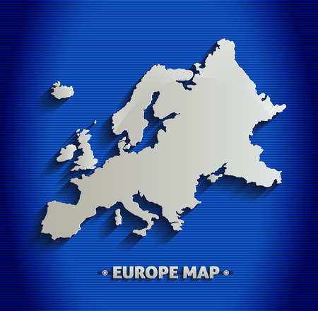 Europe map blue line 3D