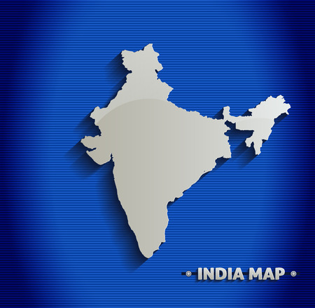 india 3d: India map blue line 3D  Illustration