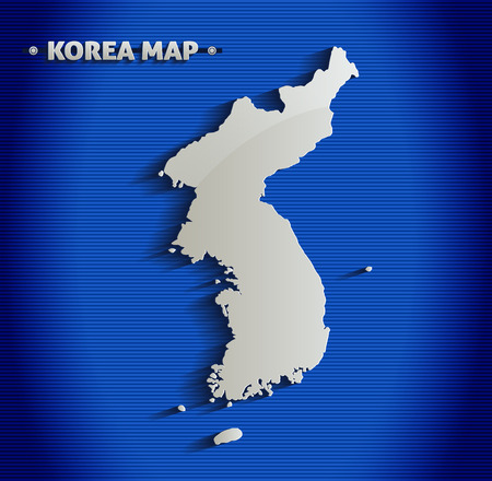 north korea: Korea blue line 3D map  Illustration