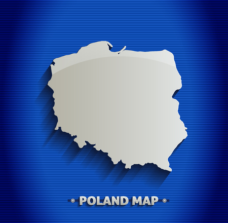 Poland map blue line 3D