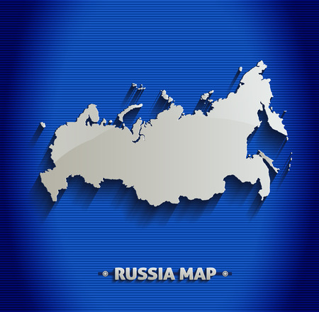 russia map: Russia map blue line 3D  Illustration
