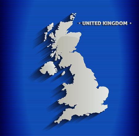britannia: United Kingdom map blue line 3D Britain Illustration