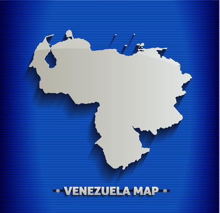 mapa de venezuela: Venezuela mapa línea azul 3D Vectores