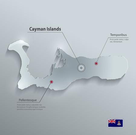 cayman: Cayman Islands map flag glass card paper 3D vector Grand Cayman Illustration