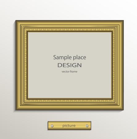 gallery: Frame image card paper 3D gold horizontal vector Illustration