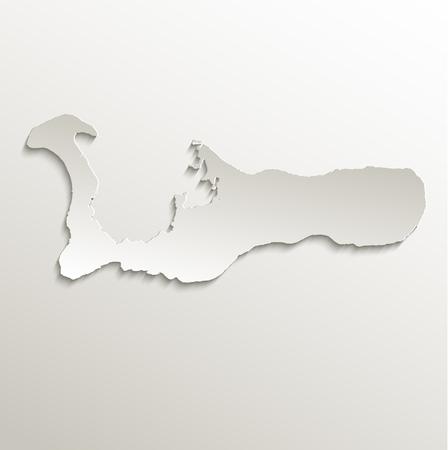 cayman: Cayman Islands map card paper 3D raster natural Grand Cayman
