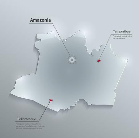 amazonia: Amazonia Maps glass card paper 3D vector